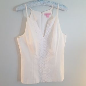 LILY Pulitzer size 6 White Top 100% Cotton